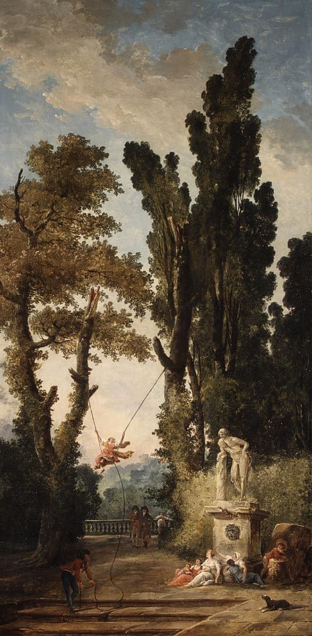 Hubert Robert (French, 1733–1808). The Swing, 1777–79. The Metropolitan Museum of Art, New York. Gift of J. Pierpont Morgan, 1917 (17.190.27) | The image of a woman swinging back and forth on a swing has explicit sexual overtones and is typical of garden scenes in the early eighteenth-century French fêtes galantes tradition, to which Robert's painting belongs.