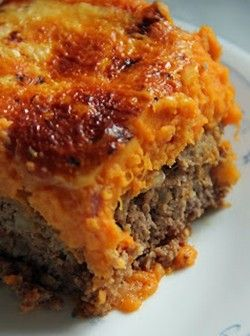 Meatloaf & Sweet Potato Casserole Recipe: First, let me say that bacon, garlic and Derky's onion in mashed sweet potatoes is delicious!  This combination of meatloaf, sweet potatoes and cheese was good.  You could even make the meatloaf recipe that you love and then these toppings!