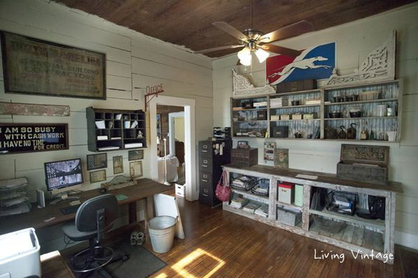 I love this vintage filled home office