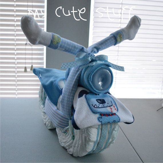 So cute for Emzi's baby shower!! Motorcycle Diaper Cake  Baby Shower  Nursery Gift by mycutestuff, $44.00