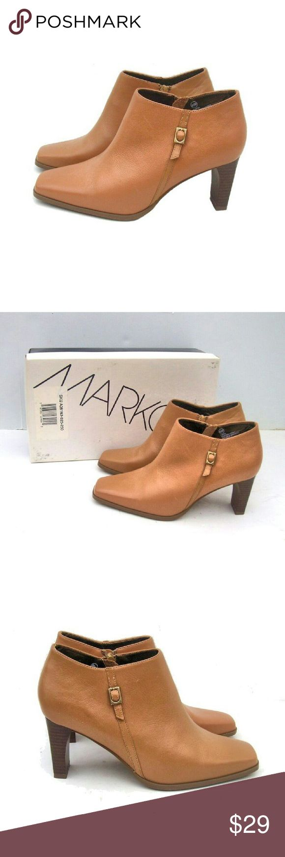 "Markon Leather Ankle Boots Booties Shoes NIB MARKON camel leather ankle boots with buckle detail. Size 8.5 Wide. 3"" heel. New in box. Markon Shoes Ankle Boots & Booties"
