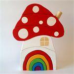 Handmade Wooden Toadstool House with Rainbow door.  www.madeit.com.au/onespottydog