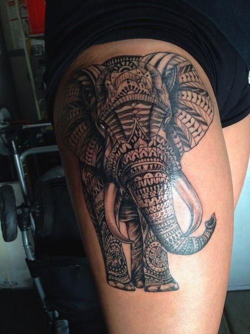Tribal Elephant Thigh Tattoo