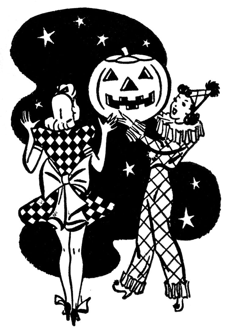 retro Halloween Image with 50s style ladies & jack o'lantern -- Free printable from the Graphics Fairy