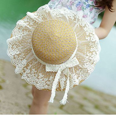 Lace Bow Ms. Collapsible Sun Straw Beach Hat 5107770 2016 – $12.99