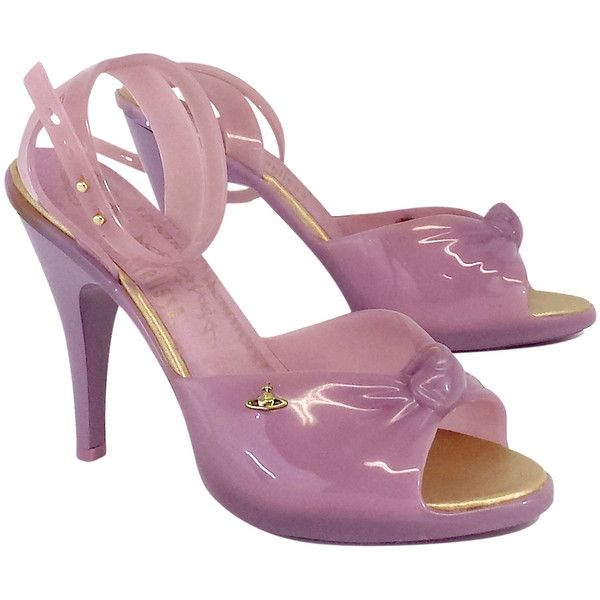 Pre-owned Vivienne Westwood Melissa Lavender Jelly Heels ($99) ❤ liked on Polyvore featuring shoes, pumps, ankle strap pumps, pre owned shoes, ankle wrap shoes, ankle strap high heel pumps and ankle strap shoes