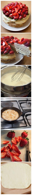 Тесто: творог — 200г яйцо — 1шт, сахар - 1ст. мука пш. в/с — 300 г (примерно), сода — 1 ч.л. уксус, ваниль. Разделите тесто на 6-8 частей. Раскатайте каждую часть так, чтобы примерно получился круг.  Разогрейте сковороду, положите корж на сковороду и наколите его вилкой, чтобы не образовались пустоты. Выпекайте с обеих сторон на сухой сковороде, на небольшом огне, пока корж не зарумянится. Готовые коржи оставьте остывать.  Смазать кремом.