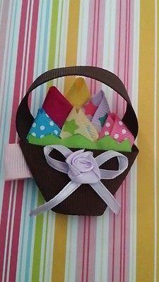 Girls Easter egg Basket hair clip set /alligator clips / hair accessories