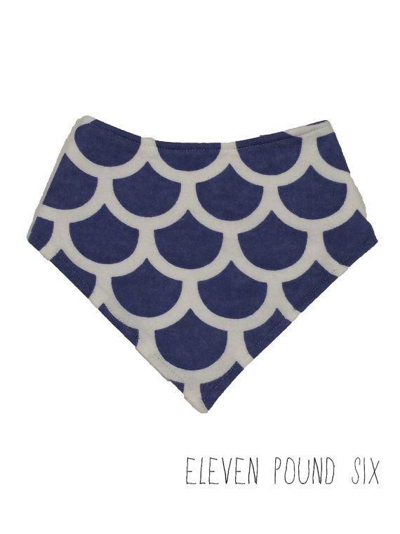 Blue and White Fleece Printed Dribble Bandana Bib