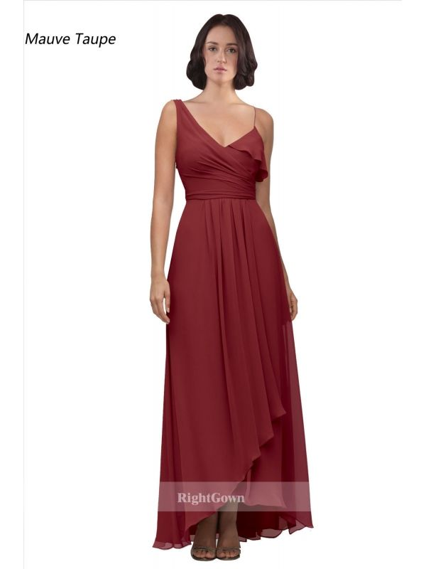Cheap Right Gowns 2018 Contemporary V-Neck Long High Low Chiffon Mauve Taupe Sleeveless Bridesmaid Dresses 173158, Right Bridesmaid Dresses, Cheap Bridesmaid Dresses and Buy Discount Bridesmaid Dresses2018