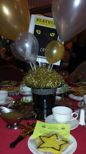 Top hat playbill centerpieces broadway theme party