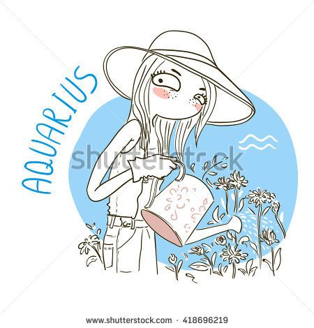 Zodiac signs Aquarius. Vector illustration of the girl.