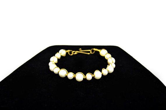 Pearl Glass Bead Bracelet  Stiff Wire Wrapped by FernsAreGreen