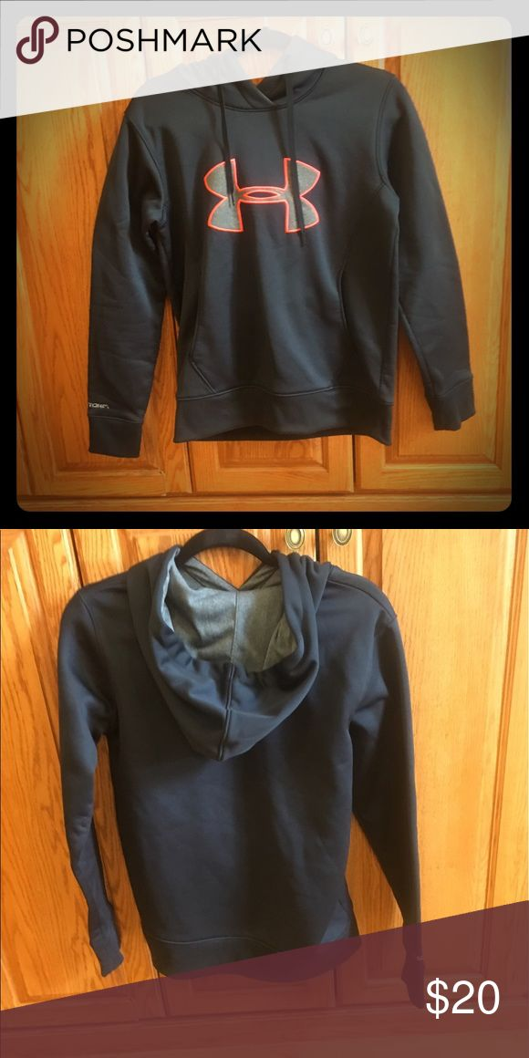 "Under Armoir Sweatshirt Hoodie Black Under Armour Hooded Dry material sweatshirt. Has the Under Armour ""X"" symbol in gray outlined with fluorescent orange. Worn once. Under Armour Tops Sweatshirts & Hoodies"
