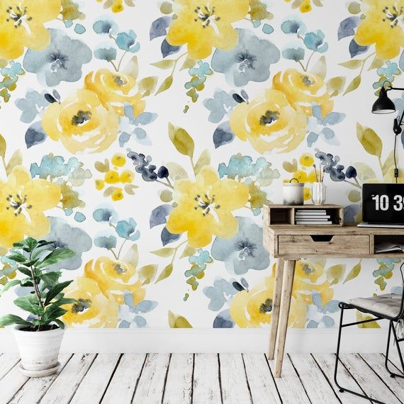 Watercolor Yellow Floral Removable Wallpaper Peel And Stick Etsy In 2021 Removable Wallpaper Yellow Accent Walls Wallpaper Accent Wall