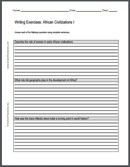 Writing exercises for high school pdf