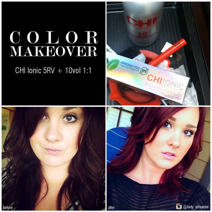 Before and after with CHI Ionic 5RV #RedViolet #haircolor ...