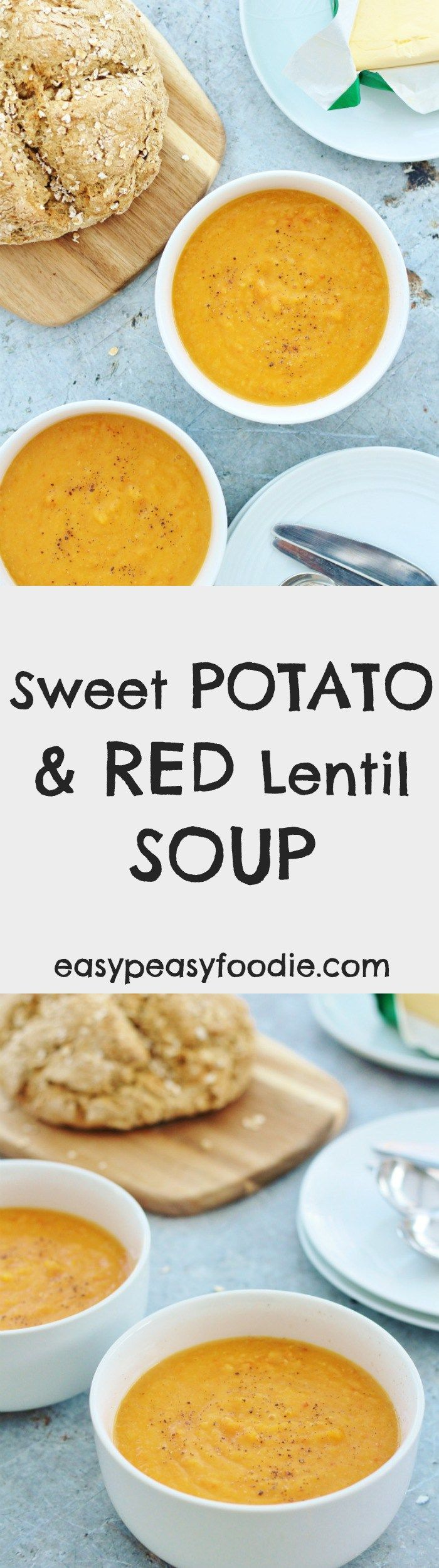 Quick, easy, nutritious and frugal, this Sweet Potato and Red Lentil Soup is just bursting with flavour from the sweet root vegetables, earthy lentils, chillies and spices – perfect for warming you up on a chilly winter's day. It's also vegan, vegetarian, gluten free and dairy free. | Posted By: DebbieNet.com