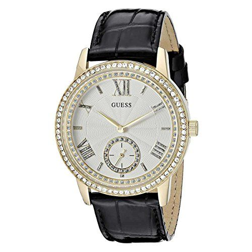 GUESS Womens U0642L2  Elegant Black  GoldTome Watch with Genuine Crystals * Chec...
