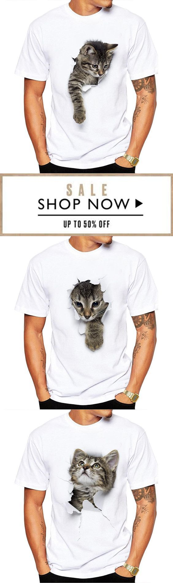 Mens Short Sleeve 3D Cat Printed Casual White T-Shirts – Mode für Männer