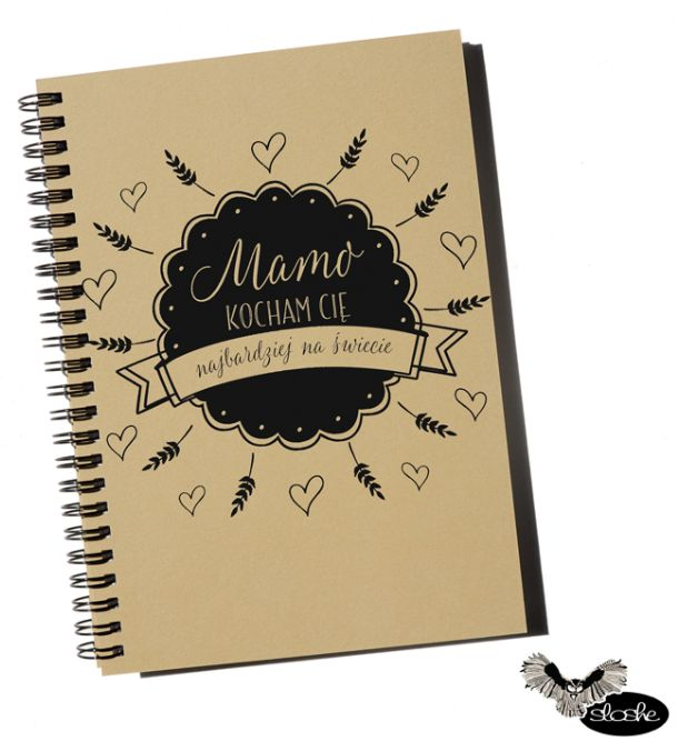 Mamo, kocham Cię najbardziej na świecie, notatnik A5 z eko papieru
