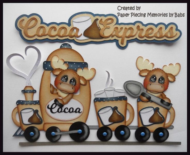 Moose Cocoa Train Set Premade Paper Piecing Die Cut for Scrapbook Page by Babs