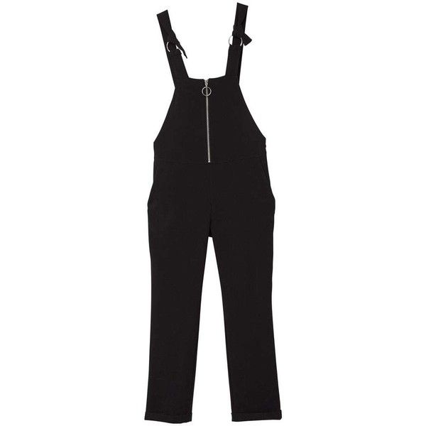 MANGO Zipped dungarees (€65) ❤ liked on Polyvore featuring jumpsuits, black, zip jumpsuit, mango jumpsuit and zipper jumpsuit