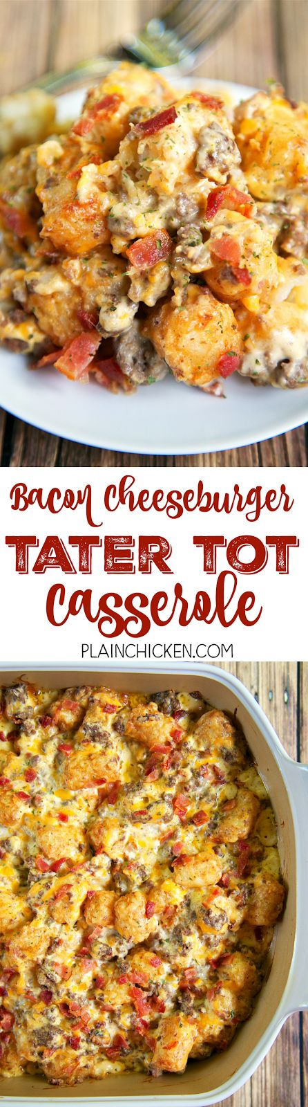 Bacon Cheeseburger Tater Tot Casserole - hamburger, bacon, cheese, cheese soup, sour cream and tater tots - what's not to love? We ate this twice in one day! Can be made ahead of time and refrigerated or frozen for later. You can also divide it between two 8x8-inch foil pans and freeze one. Great for a potluck and tailgating this fall!