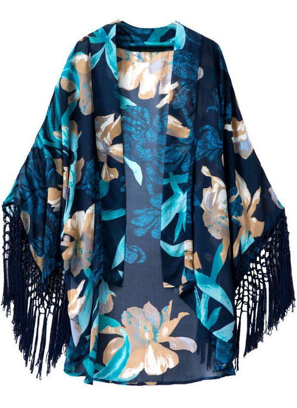 Shop Blue Long Sleeve Floral Tassel Loose Kimono online. Sheinside offers Blue Long Sleeve Floral Tassel Loose Kimono & more to fit your fashionable needs. Free Shipping Worldwide!