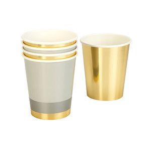 Sads 8 papírových kelímků Gold/Silver