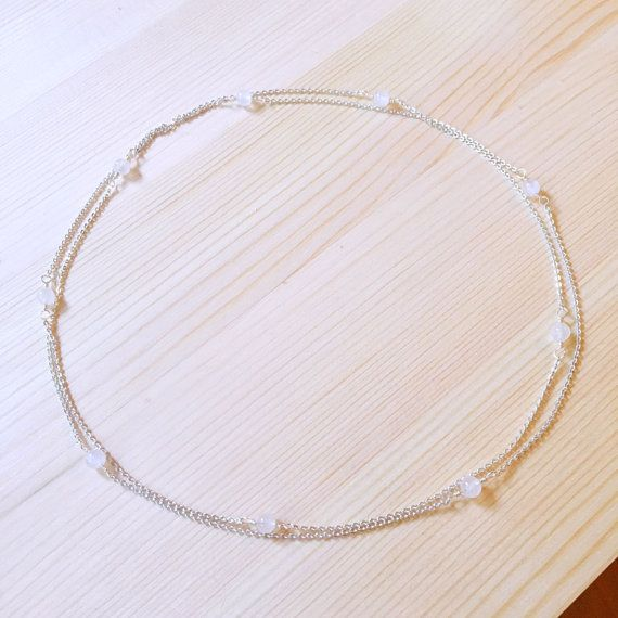 Dainty Moonstone Necklace, Rainbow Moonstone, Sterling Silver, June Birthstone Necklace, Long Necklace, Birthday Gift, Birthstone Jewelry