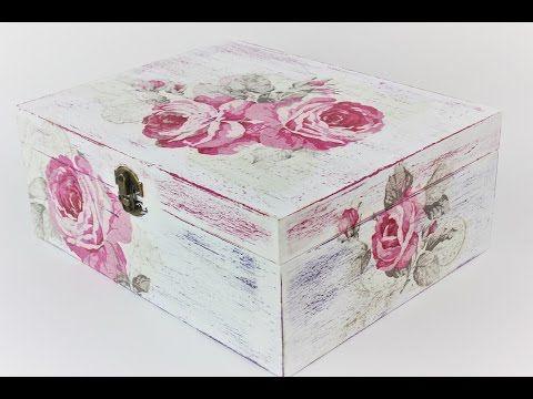 Caja decoupage con papel de arroz - YouTube