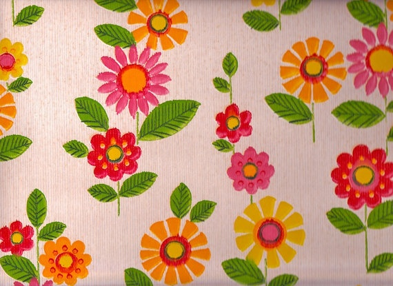 Vintage 1970s Pink Yellow and Red Flower Wallpaper by Pommedejour, $14.00