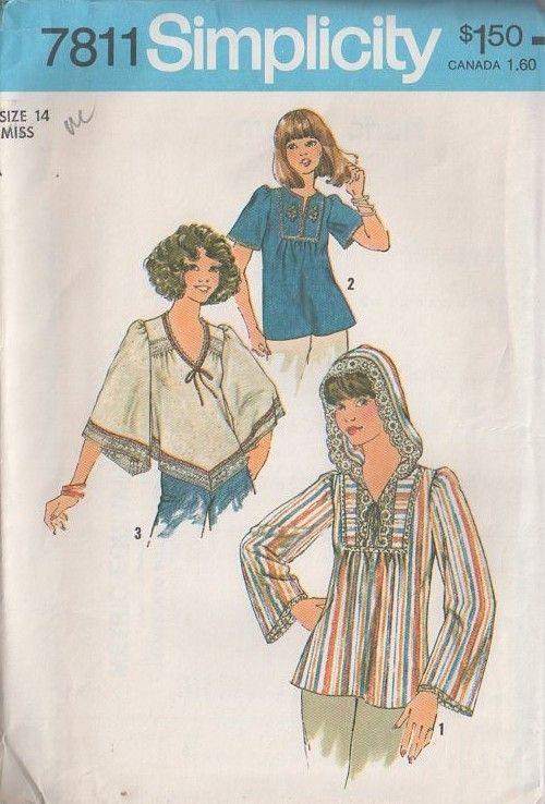 MOMSPatterns Vintage Sewing Patterns - Simplicity 7811 Vintage 70's Sewing Pattern SUPER GROOVY Hippie Boho Angel or Bell Sleeve Flared Dashiki Style Smock Top, Handkerchief Hem, Hood