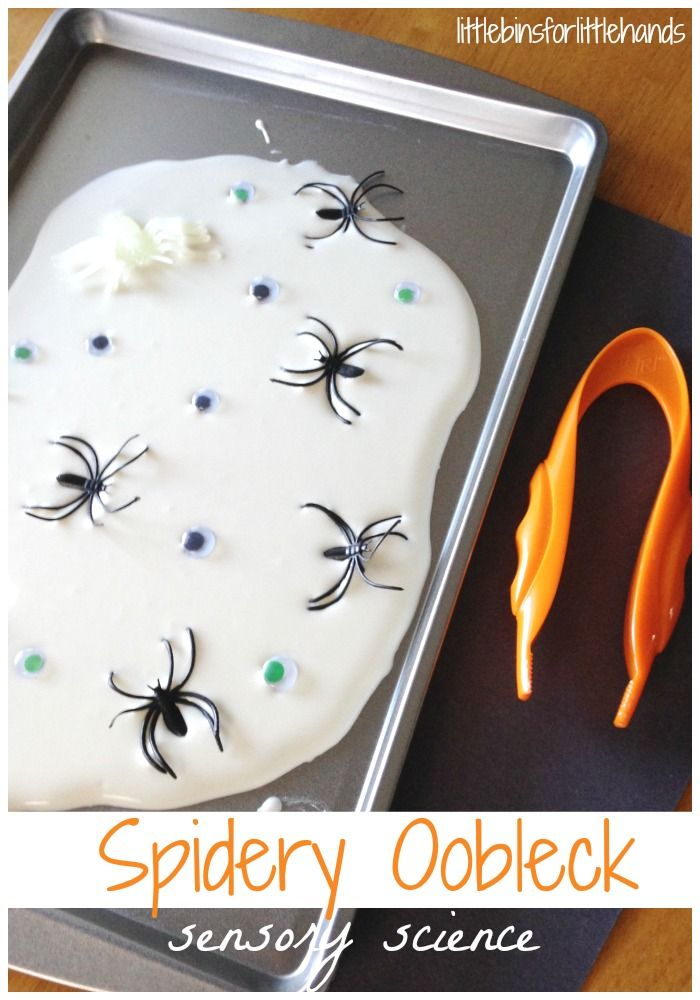 Spidery Oobleck Science: Sensory Play & Fine Motor Skills (from Little Bins for Little Hands)