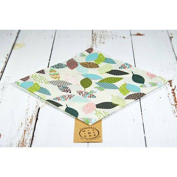 Serviette de table en coton bio GOTS feuilles pastel, zéro déchet, écologique et durable