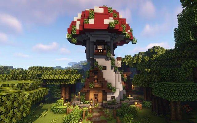 A mushroom house i made : : Minecraftbuilds in 2020 Cute minecraft houses Minecraft architecture Minecraft cottage