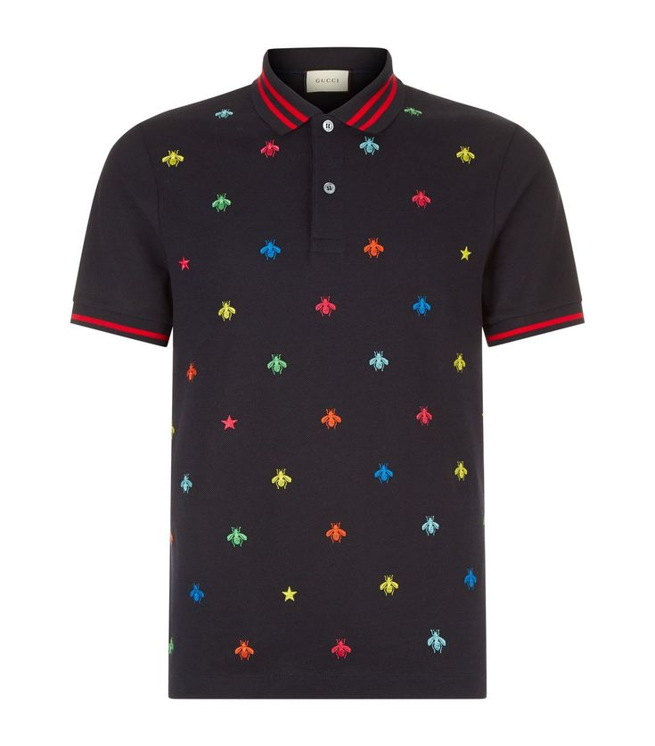 GUCCI Insect Embroidered Polo Shirt in Navy