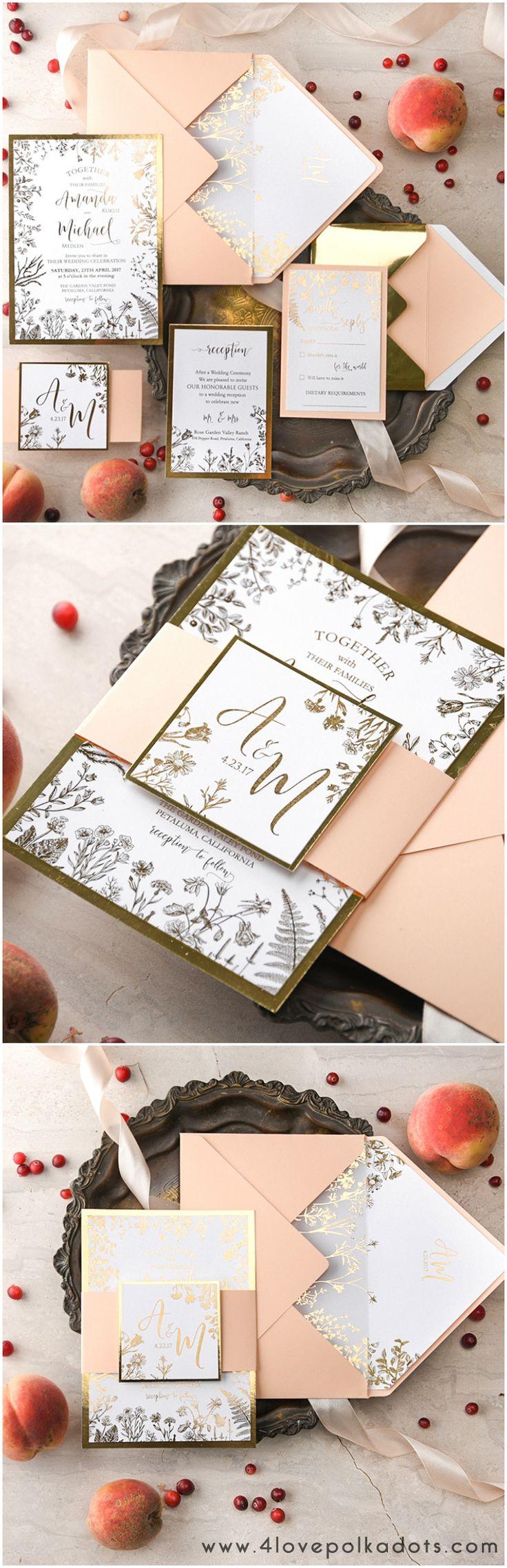 Peach & Gold shiny glitter wedding invitations #sponsored