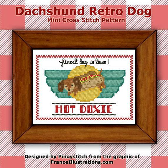Dachshund Retro Dog Cross Stitch PDF chart by PinoyStitch on Etsy