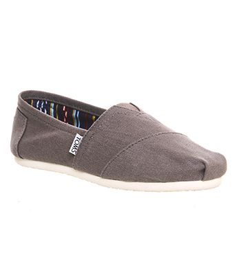 Buy Ash Grey Canvas Toms Classic Slip Ons from OFFICE.co.uk.
