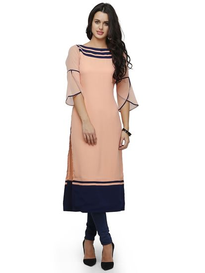 Shop Online for Peach Straight Kurta in India at Voonik.com, 2680951 ✓Easy Returns ✓Pan india Shipping ✓Affordable Prices ✓Cash On Delivery