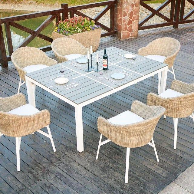 Carcina 6 : table de jardin en aluminium et polywood 6 ...