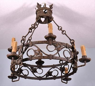 Antique French Wrought Iron Chandelier Renaissance Revival Hanging Lamp