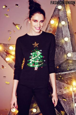 Buy Fashion Union Crazy Sequin Christmas Tree X-Mas Jumper from the Next UK online shop