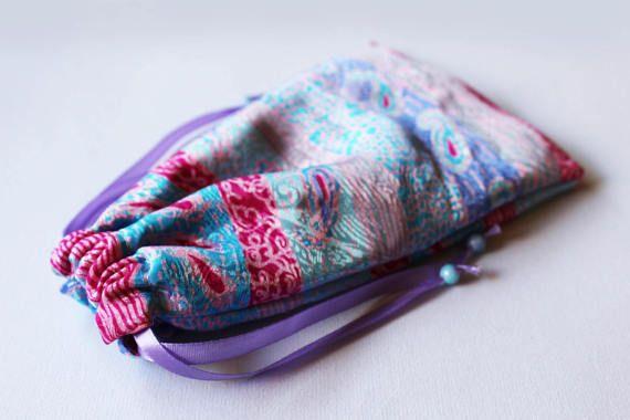 Paisley Pink Tarot Bag, Angel Card Bag, Oracle Card Bag, Tarot Pouch, Lenormand Bag, Crystal Holder, Runes Bag, Jewelry Bag
