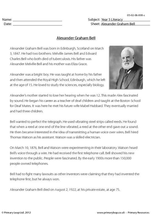 PrimaryLeap.co.uk - Comprehension - Alexander Graham Bell Worksheet
