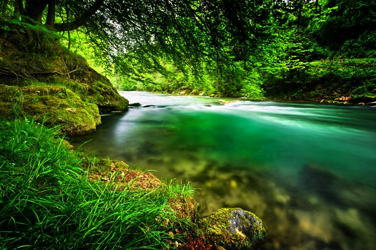 A natural River with clean and fresh, emerald green Water in Mangfall River, Bavaria, Germany. Photo by Andreas Krappweis