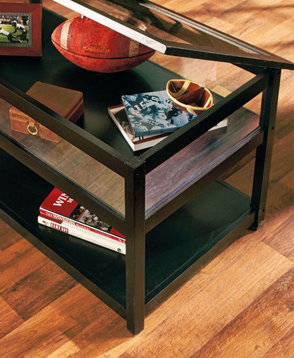 Black Coffee Table Display Glass Top Memorabilia Display Endtable