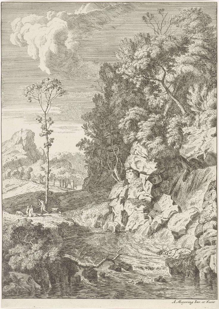 Albert Meyeringh | Landschap met een waterval, Albert Meyeringh, 1695 - 1714 | Landschap met een beek en rechts een rotswand met een waterval. Links op de oever herders.